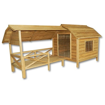 Wiltec XXL Hundehütte Hundehaus Holz Balkon Garten Terrasse Lamellentüre Hund - 1