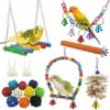 17 Stück Bunten Vogelspielzeug, Stehende Sitzstangen Vogel Papagei Schaukel Spielzeug mit Glocken, Handgemacht Vogelkäfig Spielzeug für Liebesvögel Finken Papageien Sittiche Nymphensittiche Conures - 1