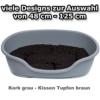 adena Hundekorb 81 x 54 cm grau + Kissen Tupfen braun - 1