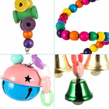 Firtink 10 stücke Papagei Spielzeug Set Bunten Vogelspielzeug für Papageien, Schaukel zum Kauen, Hängematte, Hantel, Spielzeug - 2
