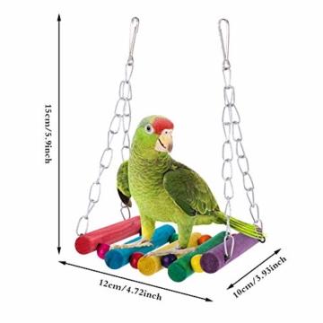 Firtink 10 stücke Papagei Spielzeug Set Bunten Vogelspielzeug für Papageien, Schaukel zum Kauen, Hängematte, Hantel, Spielzeug - 3