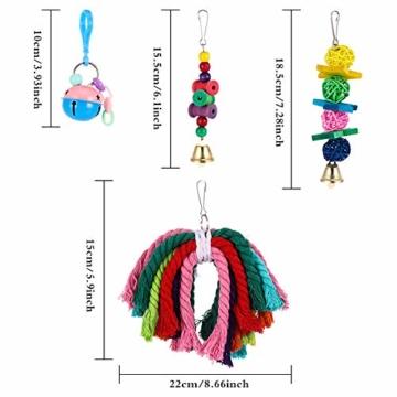 Firtink 10 stücke Papagei Spielzeug Set Bunten Vogelspielzeug für Papageien, Schaukel zum Kauen, Hängematte, Hantel, Spielzeug - 4