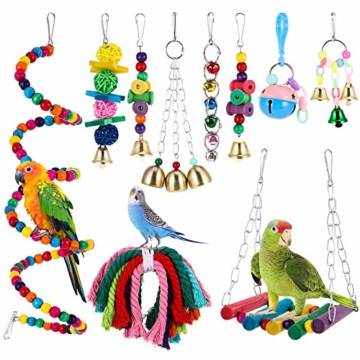 Firtink 10 stücke Papagei Spielzeug Set Bunten Vogelspielzeug für Papageien, Schaukel zum Kauen, Hängematte, Hantel, Spielzeug - 1