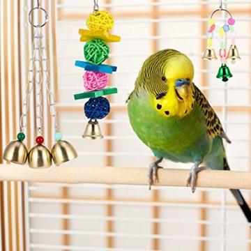 Firtink 10 stücke Papagei Spielzeug Set Bunten Vogelspielzeug für Papageien, Schaukel zum Kauen, Hängematte, Hantel, Spielzeug - 6