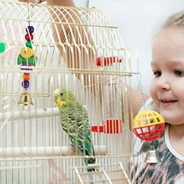 Firtink 10 stücke Papagei Spielzeug Set Bunten Vogelspielzeug für Papageien, Schaukel zum Kauen, Hängematte, Hantel, Spielzeug - 7