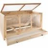 TecTake 403230 Nagerkäfig aus Holz mit Häuschen, große Bewegungsfreiheit durch mehrere Etagen, aufklappbares Dachgitter, Schaufenster aus Plexiglas, herausnehmbare Schublade - 1