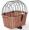 Tigana - Hundefahrradkorb für Gepäckträger aus Weide mit Gitter 50 x 38 cm Eckig Natur (N-S) (mit Kissen) - 1