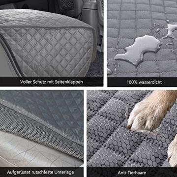 Vailge Hundedecke Auto Rückbank, wasserdichte Autoschondecke für Hunde Rücksitz Kratzfest rutschfeste mit Sicherheitsgurt, Hundedecke Auto mit Seitenschutz für Auto Van SUV (Grau) - 5