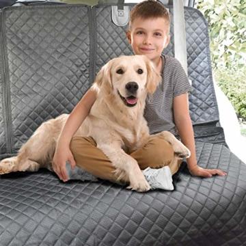 Vailge Hundedecke Auto Rückbank, wasserdichte Autoschondecke für Hunde Rücksitz Kratzfest rutschfeste mit Sicherheitsgurt, Hundedecke Auto mit Seitenschutz für Auto Van SUV (Grau) - 7