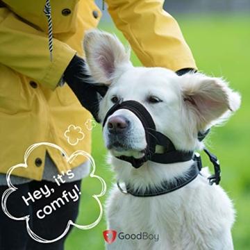 GoodBoy Maulkorb für Hunde – Verhindert sicher Bisse und ungewolltes Kauen – Neuer sicherer bequemer Sitz – Weiche Neopren Polsterung – Kein Wundscheuern mehr (M, Grau) - 3