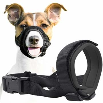 GoodBoy Maulkorb für Hunde – Verhindert sicher Bisse und ungewolltes Kauen – Neuer sicherer bequemer Sitz – Weiche Neopren Polsterung – Kein Wundscheuern mehr (M, Grau) - 1