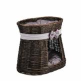 e-wicker24 Ovale dunkelbraune Katzenhütte, Katzenkorb aus Weide, Korb für die Katze mit Zwei Etagen, Katzenlager mit Kissen, Katzenturm - 1