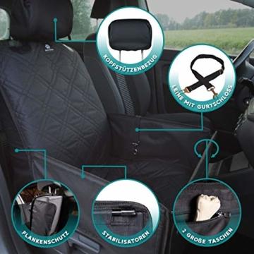 Nestor & Gamble 2-in-1 Hundesitz mit Anschnallgurt fürs Auto - Rückenlehnenschutz Kopfstützenbezug - 5
