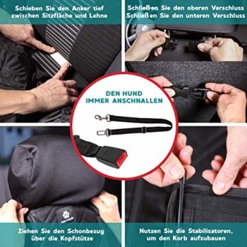 Nestor & Gamble 2-in-1 Hundesitz mit Anschnallgurt fürs Auto - Rückenlehnenschutz Kopfstützenbezug - 6