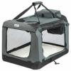 ONVAYA® Faltbare Transportbox für Hunde & Katzen | M | Faltbare Hundebox oder Katzenbox für Auto & Zuhause | Farbe grau schwarz - 1