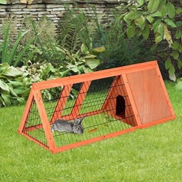 PawHut Hasenstall Hasenkäfig Kaninchenstall Kleintierstall mit Freigehege Hasen Auslauf dreieckig - 2