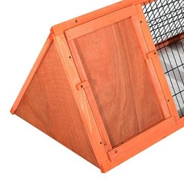 PawHut Hasenstall Hasenkäfig Kaninchenstall Kleintierstall mit Freigehege Hasen Auslauf dreieckig - 4