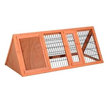 PawHut Hasenstall Hasenkäfig Kaninchenstall Kleintierstall mit Freigehege Hasen Auslauf dreieckig - 1