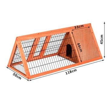 PawHut Hasenstall Hasenkäfig Kaninchenstall Kleintierstall mit Freigehege Hasen Auslauf dreieckig - 5