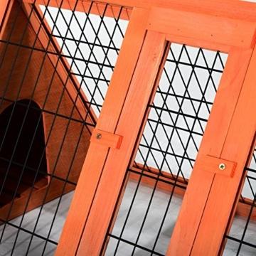 PawHut Hasenstall Hasenkäfig Kaninchenstall Kleintierstall mit Freigehege Hasen Auslauf dreieckig - 6