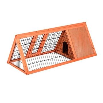 PawHut Hasenstall Hasenkäfig Kaninchenstall Kleintierstall mit Freigehege Hasen Auslauf dreieckig - 8