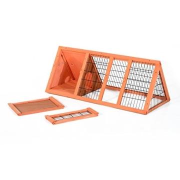 PawHut Hasenstall Hasenkäfig Kaninchenstall Kleintierstall mit Freigehege Hasen Auslauf dreieckig - 9