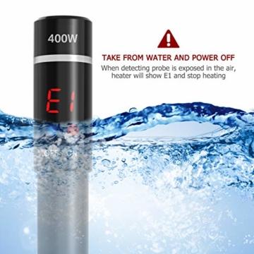 POPETPOP [Verbesserte 400W Aquarium Heizung - Unterwasser Aquariumheizer Titan Fischtanks Heizstab mit Intelligenter LED Temperaturregler - 6
