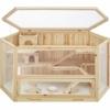 TecTake 403227 Hamsterkäfig aus Holz mit Zubehör, mehrere Etagen, aufklappbares Dachgitter, Schaufenster aus Plexiglas, herausnehmbare Schublade erleichtert die Reinigung, ca. 115 x 60 x 58 cm - 1