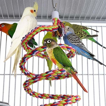 Yaheetech Vogelvoliere Vogelkäfig Käfig für Wellensittich Papageien 65,5 x 65,5 x 156 cm,Weiss - 3