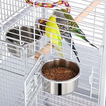 Yaheetech Vogelvoliere Vogelkäfig Käfig für Wellensittich Papageien 65,5 x 65,5 x 156 cm,Weiss - 4
