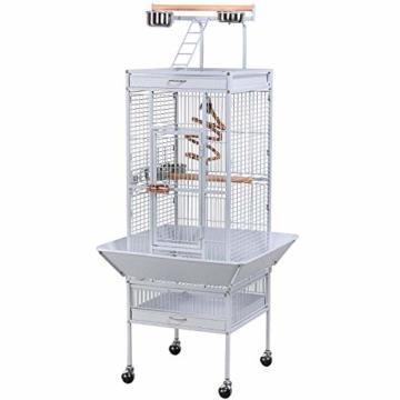 Yaheetech Vogelvoliere Vogelkäfig Käfig für Wellensittich Papageien 65,5 x 65,5 x 156 cm,Weiss - 1