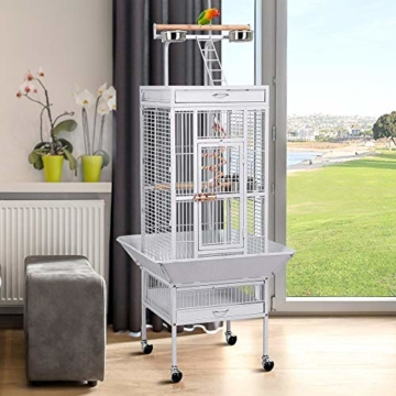 Yaheetech Vogelvoliere Vogelkäfig Käfig für Wellensittich Papageien 65,5 x 65,5 x 156 cm,Weiss - 5