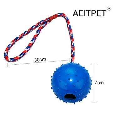 AEITPET Hunde Ball mit am Seil hundeball mit Schnur Naturkautschuk hundespielzeug Ball hundeball unzerstörbar Bälle Spielzeug am Seil für Hunde Kauspielzeug aus Naturgummi Hunde Spielzeug - 5