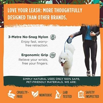 Hundeleine von Simply Natural - 3 Meter aufrollbare Hundeleine für Hunde bis 15 kg - 1-Knopf Stopper & Sperre für widerstandsfähige Hundeleine einziehbar - 2