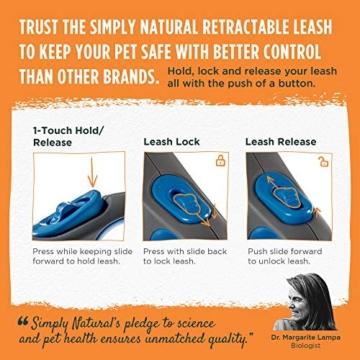 Hundeleine von Simply Natural - 3 Meter aufrollbare Hundeleine für Hunde bis 15 kg - 1-Knopf Stopper & Sperre für widerstandsfähige Hundeleine einziehbar - 3