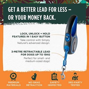 Hundeleine von Simply Natural - 3 Meter aufrollbare Hundeleine für Hunde bis 15 kg - 1-Knopf Stopper & Sperre für widerstandsfähige Hundeleine einziehbar - 6