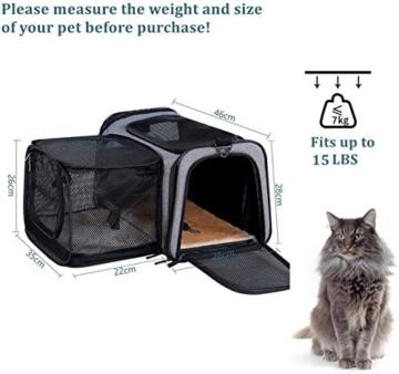 Petsfit Transporttasche Katze Hund, Katzentransportbox Transportbox Hundebox Flugtasche für Hund & Katze mit 2 großen Verlängerungen für Haustiere bis 7 kg - 2