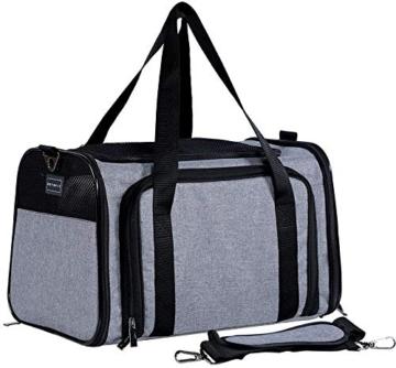 Petsfit Transporttasche Katze Hund, Katzentransportbox Transportbox Hundebox Flugtasche für Hund & Katze mit 2 großen Verlängerungen für Haustiere bis 7 kg - 3