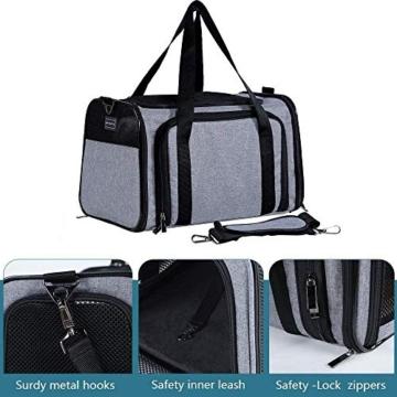Petsfit Transporttasche Katze Hund, Katzentransportbox Transportbox Hundebox Flugtasche für Hund & Katze mit 2 großen Verlängerungen für Haustiere bis 7 kg - 4