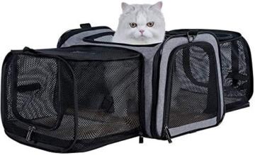Petsfit Transporttasche Katze Hund, Katzentransportbox Transportbox Hundebox Flugtasche für Hund & Katze mit 2 großen Verlängerungen für Haustiere bis 7 kg - 1