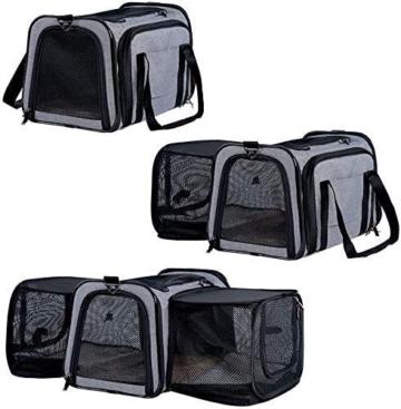 Petsfit Transporttasche Katze Hund, Katzentransportbox Transportbox Hundebox Flugtasche für Hund & Katze mit 2 großen Verlängerungen für Haustiere bis 7 kg - 5