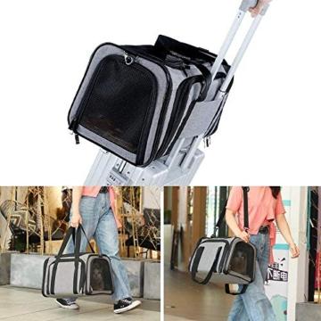 Petsfit Transporttasche Katze Hund, Katzentransportbox Transportbox Hundebox Flugtasche für Hund & Katze mit 2 großen Verlängerungen für Haustiere bis 7 kg - 6