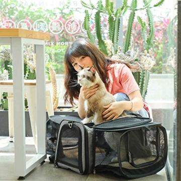 Petsfit Transporttasche Katze Hund, Katzentransportbox Transportbox Hundebox Flugtasche für Hund & Katze mit 2 großen Verlängerungen für Haustiere bis 7 kg - 7
