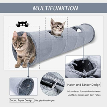 GWELL Katzentunnel Wildleder 130cm Faltbar Rascheltunnel mit Ball Cat Tunnel Haustier Tunnel Spieltunnel Katze Katzenspielzeug Hundenspielzeug Stabil für Katzen, Welpen, Hasen und Kleintiere - 3