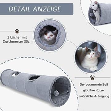 GWELL Katzentunnel Wildleder 130cm Faltbar Rascheltunnel mit Ball Cat Tunnel Haustier Tunnel Spieltunnel Katze Katzenspielzeug Hundenspielzeug Stabil für Katzen, Welpen, Hasen und Kleintiere - 4