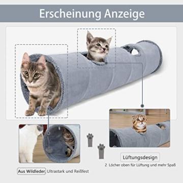 GWELL Katzentunnel Wildleder 130cm Faltbar Rascheltunnel mit Ball Cat Tunnel Haustier Tunnel Spieltunnel Katze Katzenspielzeug Hundenspielzeug Stabil für Katzen, Welpen, Hasen und Kleintiere - 6