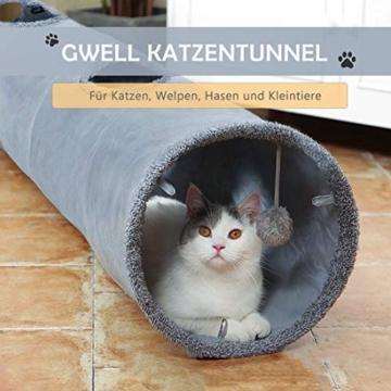 GWELL Katzentunnel Wildleder 130cm Faltbar Rascheltunnel mit Ball Cat Tunnel Haustier Tunnel Spieltunnel Katze Katzenspielzeug Hundenspielzeug Stabil für Katzen, Welpen, Hasen und Kleintiere - 7
