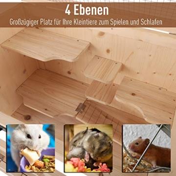 Pawhut Kleintierkäfig Hamsterkäfig Käfig Nagerkäfig Mäusekäfig Tannenholz - 4