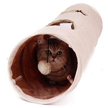 PAWZ Road sämisch Katzentunnel Katzenspielzeug Rascheltunnel Spieltunnel 120cm mit 2 Höhlen - 4