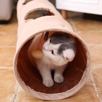 PAWZ Road sämisch Katzentunnel Katzenspielzeug Rascheltunnel Spieltunnel 120cm mit 2 Höhlen - 7